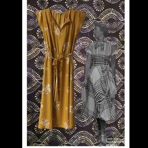 Ann Taylor Loft Mustard Yellow & White Midi Dress