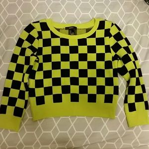 F21 Black Lime Green Checkered Crop Sweater S