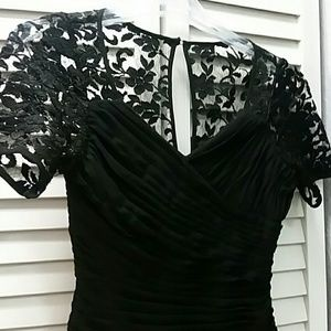 Adrianna Papell Tops - ADRIANNA PAPELL Black Lace Shoulder Evening Top