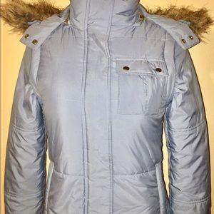 Petite Sophisticate Jackets & Blazers - PETITE SOPHISTICATE Blue Hooded Puffer Jacket Coat