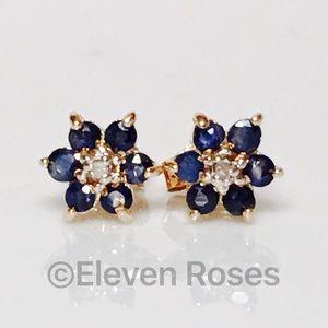 Fine Jewelry Other - 14k Gold Blue Sapphire & Diamond Flower Earrings