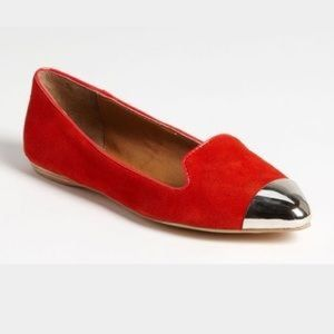 Dolce Vita Lunna Red Suede Captoe Smoking Flats