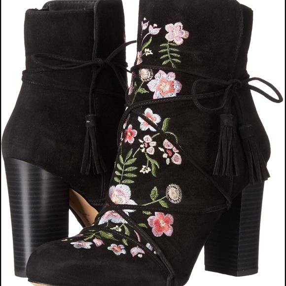 38ec60fb3 Sam Edelman Black   Floral Embroidered Winnie Boot.  M 587c28862599fe416002cec8