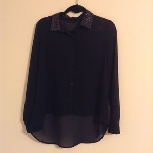 Forever 21 Tops - Forever 21 Navy Sequin Collar Chiffon Button-up
