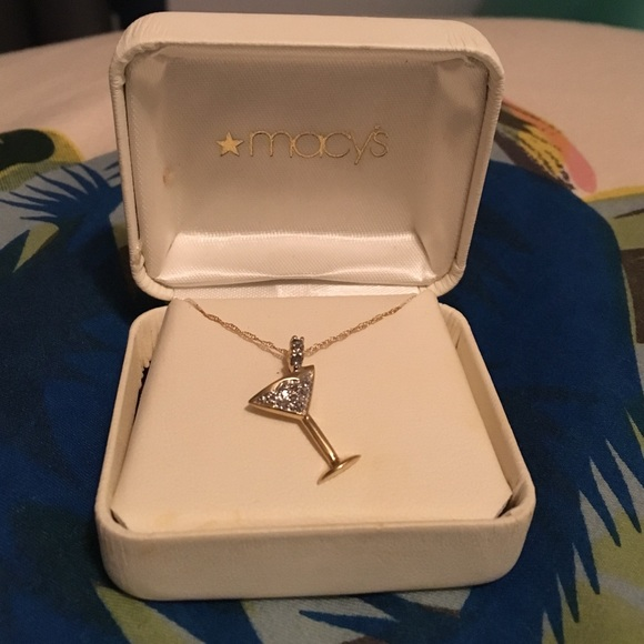 2db98ddc5f7 Gold and Diamond Martini Pendant and Chain. NWT. Macy s