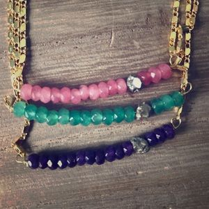 Gemstone & Pyrite Bar Necklace