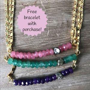 Function & Fringe Jewelry - Gemstone & Pyrite Bar Necklace