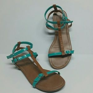 Montego Bay Club Shoes - SALE Cute Teal and Tan Strappy Sandals GUC