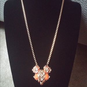 Orange and Gold Scarab Beetle Necklace