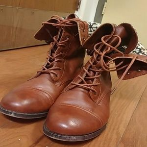 Shoes - Brown Lace Up Fold Over Combat Boots
