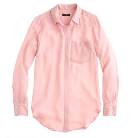a566043f J. Crew Tops | Nwt Jcrew Classic Silk Blouse Pink Size 6 | Poshmark