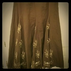 Lipstick Boutique Dresses & Skirts - Boho brown skirt embroidered