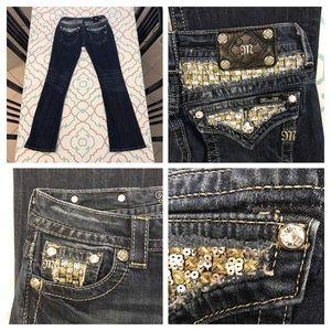 Gold Miss Me Jeans27 3/4 Silver Sequin EUC