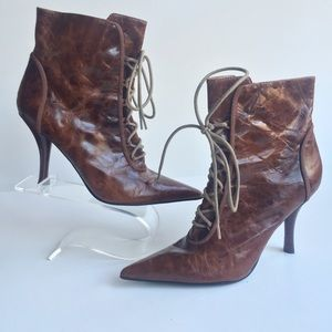 Nine West brown leather lace up booties