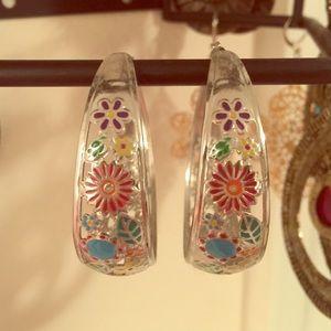 Silver floral hoop earrings