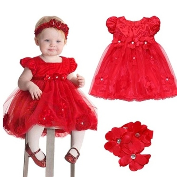 🎁Baby Girl Holiday Dress w  Head band🎁FINAL 377e092e51bc