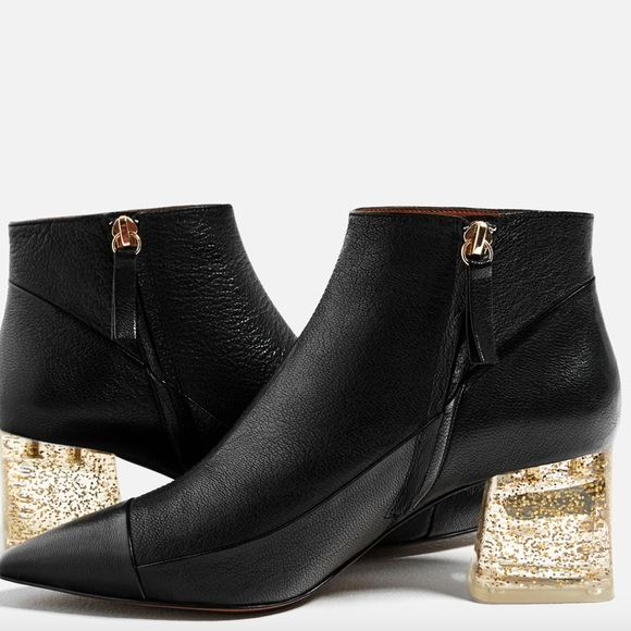 a31d9841136d NWT Zara Leather Ankle Boot With Methacrylate Heel