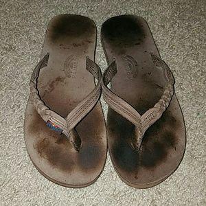 Rainbow Shoes - Brown rainbow flip flops