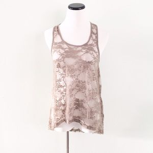 NWT H&M Divided Tan lace Hi low Tank Top