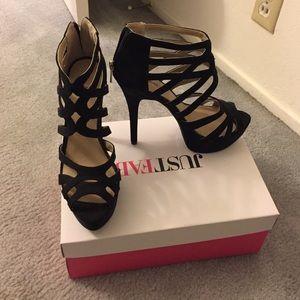 Strappy black platform heels