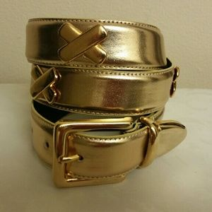 NWOT gold leather X belt