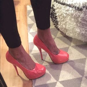 Coral patent leather heels size 9