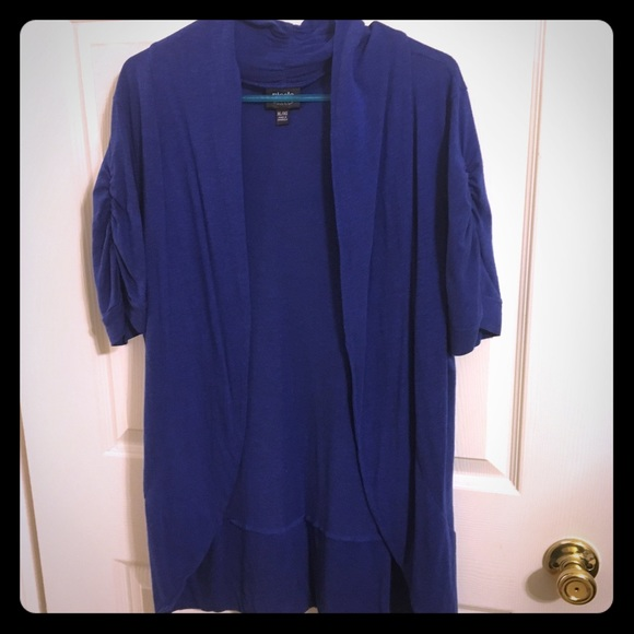 Nicole by Nicole Miller - Royal Blue Short Sleeve Cardigan from ...