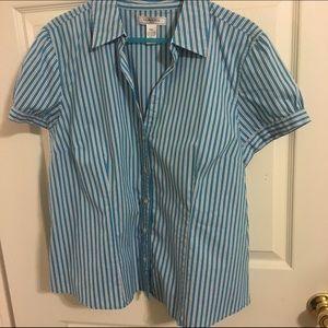 Bass Tops - Short Sleeve Striped Button Down Blouse
