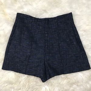 Zara Woman Tweed Navy Black Dress Shorts