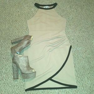 Almost Famous Dresses & Skirts - BEIGE AND BLACK DRAPED TULIP MINI DRESS - LRG..NEW