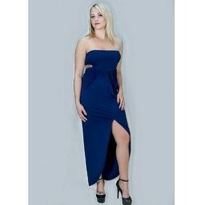 Strapless Navy maxi dress
