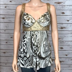 NWOT Gold, Brown, & White Floral Sky Shirt