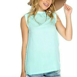MINT BLUE SEXY AS CAN BE SLEEVELESS TOP