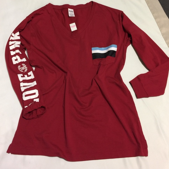 Campus long sleeves V neck PINK red top e12239f22