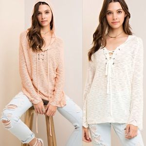 Sweaters - 🌺🦋SPRING SALE🦋🌺 🌷🌷🌷 LACE-UP KNIT HOODIE