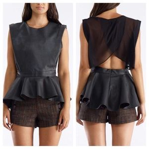 Gracia Tops - Vegan leather peplum top