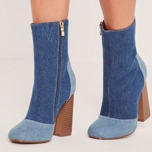 MISSGUIDED PATCHWORK DENIM ANKLE BOOTS
