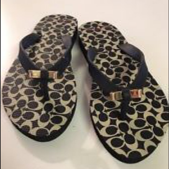 0dd997228498 NIB Coach AMEL Black   Milk Flip Flops with Bows