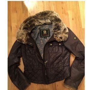 Belstaff black coat with fur collar