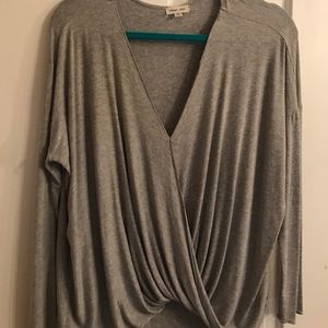 Grey soft long sleeve v neck. Surplice top