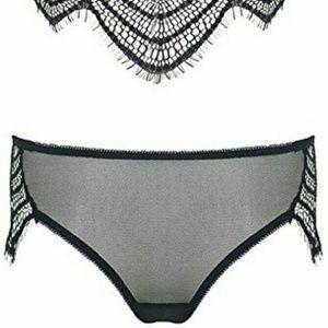 00c1adb62d9c Intimates & Sleepwear | Black Mesh Eyelash Lace Bra Panty Set Small ...