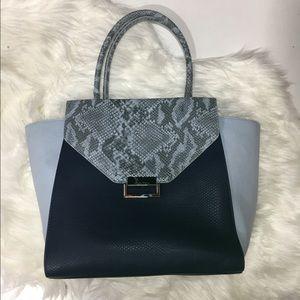 Ivanka Trump Handbags - Ivanna Trump Faux Blue Snakeskin Satchel