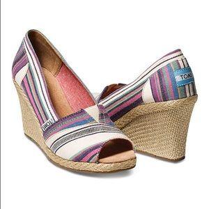 TOMS Shoes - Toms Village Stripe Open Toe Wedge