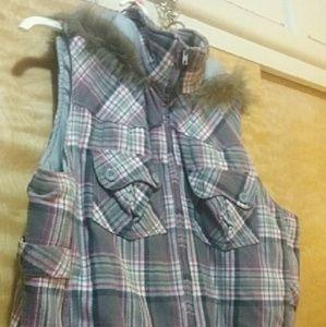 Jackets & Blazers - Ladies plaid vest plus size 3X