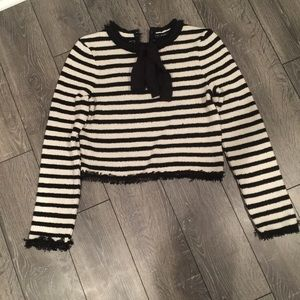  ZARA STRIPE FRINGE SWEATER