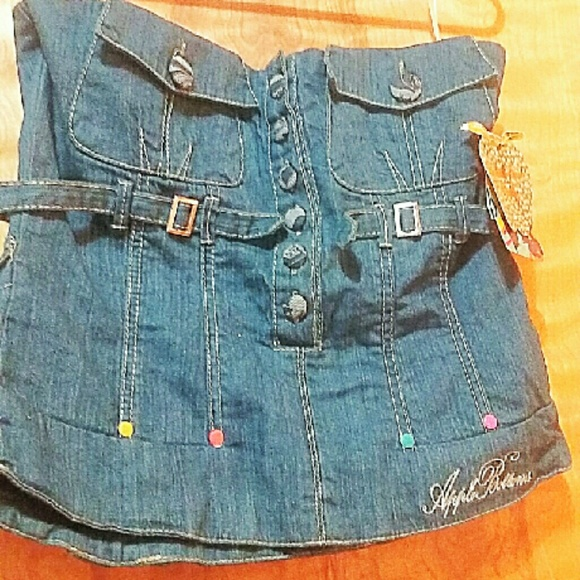 Ladies Apple Bottoms denim bustier size Large