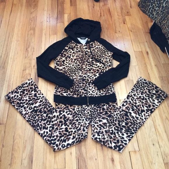 ecf572efd03 bebe Other | Swarovski Leopard Sweatsuit Xss | Poshmark
