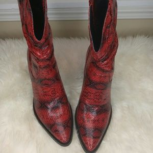 Shoes - Red and black snake print boots
