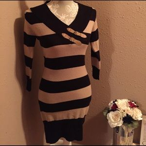 Ultra Flirt Dresses & Skirts - Ultra Flirt Striped Sweater Dress Size M