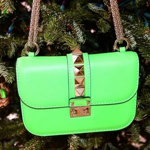 Valentino Handbags - VALENTINO ROCKSTUD GREEN MINI SMALL FLAP BAG